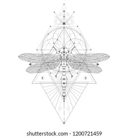 Vector illustration with hand drawn dragonfly and Sacred geometric symbol on white background. Abstract mystic sign. Black linear shape. For you design: tattoo, print, posters, t-shirts, textiles.