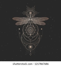 Vector illustration with hand drawn dragonfly and Sacred geometric symbol on black vintage background. Abstract mystic sign. Gold linear shape. For you design: tattoo, print, posters, t-shirts.