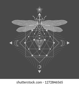 7595cbe4d Vector illustration with hand drawn dragonfly and Sacred geometric symbol  on black vintage background. Abstract