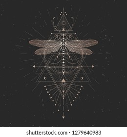Vector illustration with hand drawn dragonfly and Sacred geometric symbol on black vintage background. Abstract mystic sign. Gold linear shape. For you design and other.