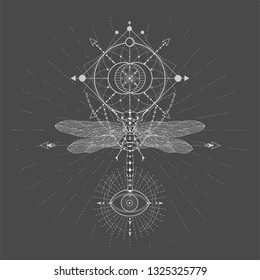 c8defd0dc Vector illustration with hand drawn Dragonfly and Sacred geometric symbol  on black background. Abstract mystic