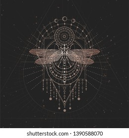 a8f364849 Vector illustration with hand drawn Dragonfly and Sacred geometric symbol  on black vintage background. Abstract