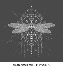 Vector illustration with hand drawn Dragonfly and Sacred symbol LOTUS on black background. Abstract mystic sign. White linear shape. For you design, tattoo or magic craft.