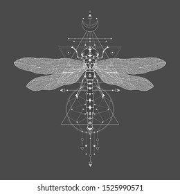 Vector illustration with hand drawn dragonfly and Sacred geometric symbol on black vintage background. Abstract mystic sign. White linear shape.