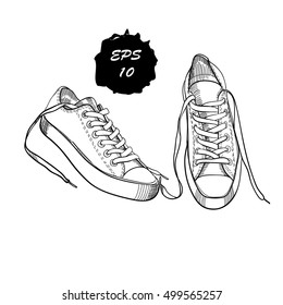 Vector illustration of hand drawn, drawing,  sneakers, graphic sport shoes for tennis on white background. Casual style. Doodle Design isolated object. Element for logo.