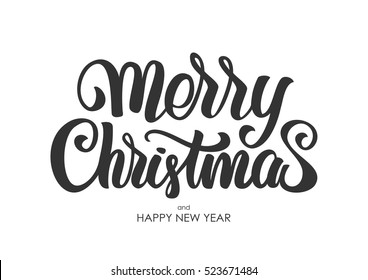 Vector illustration. Hand drawn elegant modern brush lettering of Merry Christmas isolated on white background.