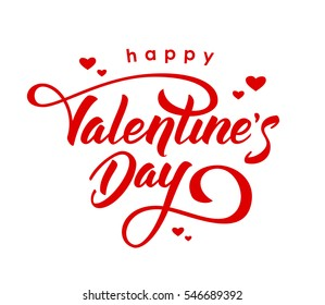 Vector illustration. Hand drawn elegant modern brush lettering of Happy Valentines Day with hearts isolated on white background.