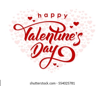 Vector illustration. Hand drawn elegant modern brush lettering of Happy Valentines Day on hearts background.