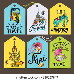A vector illustration of hand drawn elements for traveling to Thailand, concept Travel to Thailand. Lettering logo set banners.