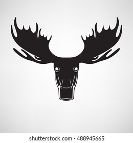 Vector illustration hand drawn elk moose head