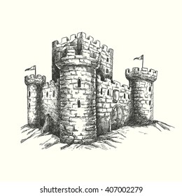 Vector illustration - hand drawn engraved medieval castle, isolated on white background. Unique detailed drawing of old tower for book, poster, web.