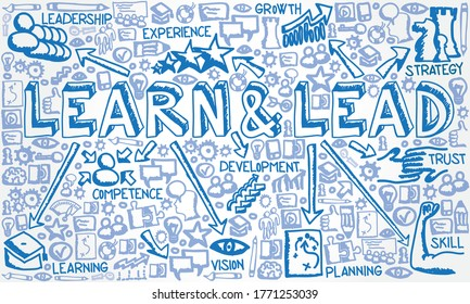 Vector illustration of hand drawn flat icon group with Learn & Lead, Leadership, Learning, Competence, Growth, Vision snd Development concept