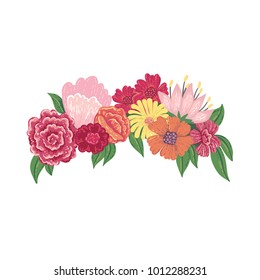 Vector illustration of a hand drawn floral head wreath isolated on a white