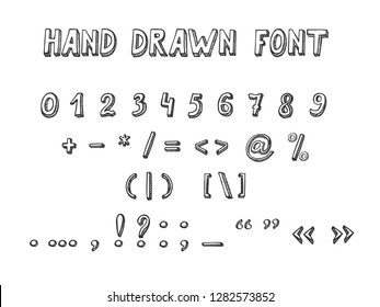 Vector illustration of Hand Drawn Font in doodle style. Numbers and punctuation marks and mathematical symbols