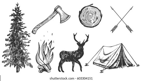Vector illustration of hand drawn forest camping vacation objects set: spruce, ax, camp bonfire, deer silhouette, wood cut, arrows, tent. Vintage engraving style.