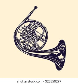 Vector illustration of hand drawn french horn. Beautiful ink drawing of a wind musical instrument.