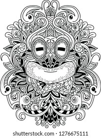 Vector illustration hand drawn of Frog isolated. Black and white ornamental doodle frog illustration with zen tangle decorative ornament