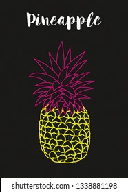Vector Illustration hand drawn fruit pineapple black neon