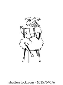 Vector illustration of hand drawn funny sheep reading a book with a cup of coffee. Beautiful animal design elements, ink drawing, funny illustration