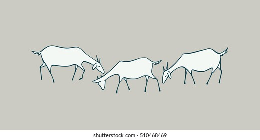 Vector illustration of hand drawn goat herd. Horizontal layout, cute animal characters.