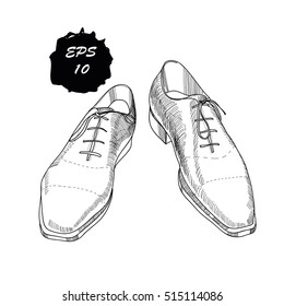 Vector illustration of hand drawn, graphic classic shoes for men on white background. Casual style. Doodle Design isolated object. Object for logo.