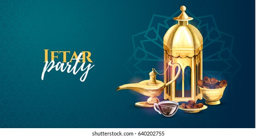 vector illustration. vector hand drawn graphics Iftar party celebration. Traditional subjects. the Muslim feast of the holy month of Ramadan Kareem. Translation from Arabic: Generous Ramadan