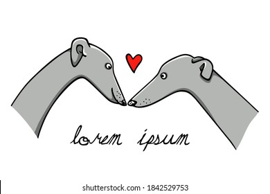 Vector illustration of hand drawn greyhound dog couple in love. Beautiful design elements, ink drawing, funny romantic illustration. Perfect for Valentine's day celebration.