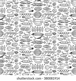 Vector illustration of hand drawn grill-barbecue elements