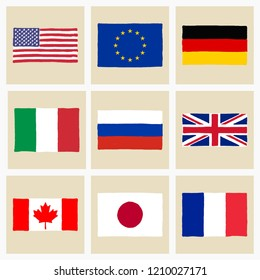 Vector illustration of hand drawn Group of Eight (leading industrial countries) flags collection