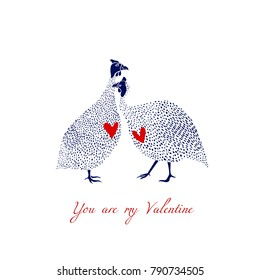 Vector illustration of hand drawn guinea fowl couple in love. Beautiful design elements, ink drawing, funny romantic illustration. Perfect for Valentine's day celebration.