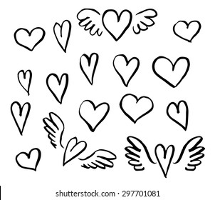 Vector illustration hand drawn hearts set  of design elements