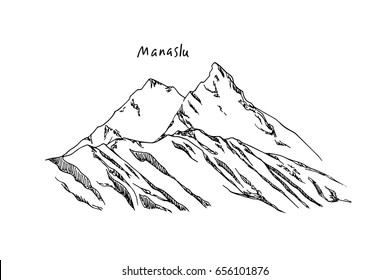 Vector illustration of hand drawn Himalayan mountain pick. Ink drawing, graphic style. Perfect for travel, sport or spiritual designs.