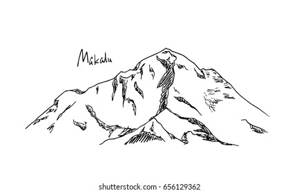 Vector illustration of hand drawn Himalayan mountain. Ink drawing, graphic style. Perfect for travel, sport or spiritual designs.