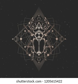 Vector illustration with hand drawn insect and Sacred geometric symbol on black vintage background. Abstract mystic sign. Gold linear shape. For you design: tattoo, print, posters, t-shirts, textiles.