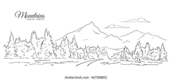 Vector illustration: Hand drawn Landscape with Mountains, forest, road and clouds. Line design. Sketch