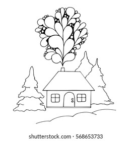 Vector Illustration Hand Drawn Landscape With House And Pine Sketch Line Design