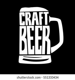 Vector illustration - Hand drawn lettering for bar or beer festival with mug of craft beer. Design for pub menu, beer house, brewery poster, label or logo.
