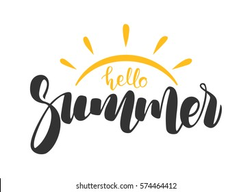 Vector illustration: Hand drawn lettering composition of Hello Summer with doodle sun. Handwritten calligraphy design.