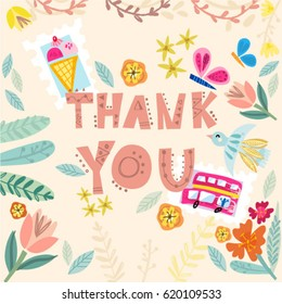 Vector illustration of hand drawn lettering thank you.