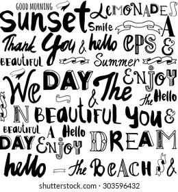 Vector illustration with hand drawn letters of the alphabet written with a brush on white background. Different words on the topic of the summer. Seamless pattern of words.