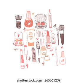 Vector illustration of hand drawn make-up stuff