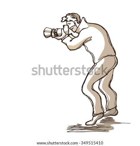 vector illustration hand drawn male photographer stock vector