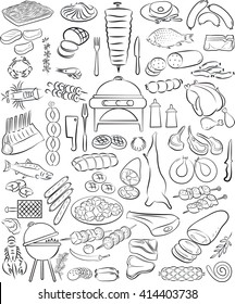 vector illustration of hand drawn meat elements set in line art mode