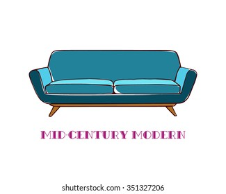Vector illustration of hand drawn mid-century modern sofa. Beautiful design element, perfect for any business related to the furniture industry.