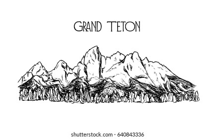 Vector illustration of hand drawn mountain in American Grand Teton National Park. Ink drawing, graphic style. Perfect for travel, sport or spiritual designs.
