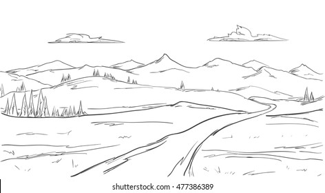 Vector illustration: Hand drawn Mountains sketch landscape with road, pine and clouds. Line design