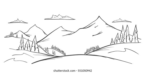 Vector illustration: Hand drawn Mountains sketch landscape with hills, pine and clouds. Line design.