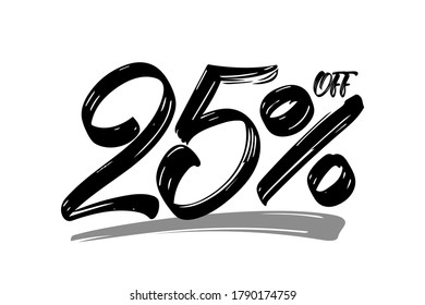 Vector illustration: Hand drawn numbers of 25% OFF. Special offer  discount. Black Friday Sale.