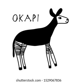 Vector illustration of hand drawn okapi.