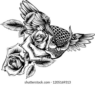 Vector illustration with hand drawn ornate owl with rose flowers